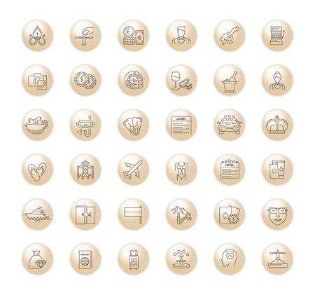 Vector graphic set. Icons in flat, contour,thin, minimal and linear design.Monte Carlo.City of entertainment.Vacation, casino, beach.Simple isolated icons.Concept of web site and app. Illustration