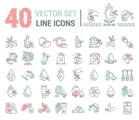 Set vector icons graphic thin outline in a linear design. Element emblem symbols of olive oil and oil cosmetics.Organic product. natural care of skin, hands, face. the concept of healthy eating.