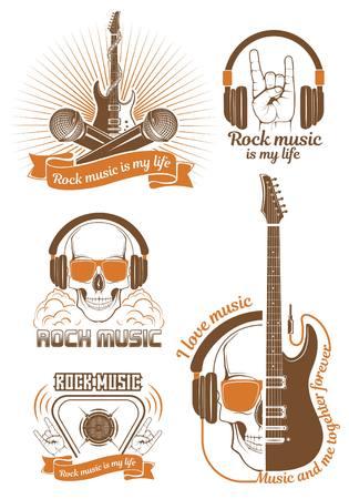 Conjunto gráfico. Símbolo de la música rock. Guitarra eléctrica y bajo con calavera. Cartel, volante, cartelera, pancarta, para concierto de rock. Concepto de festival o batalla de rock. Ilustración de vector