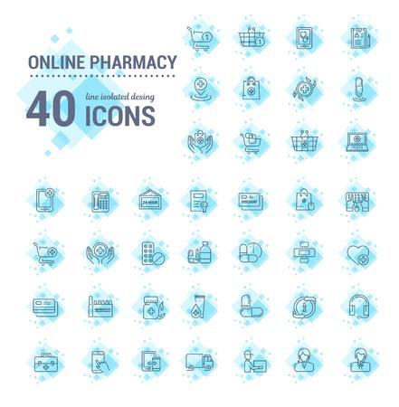 Vector graphic set.Icons in flat, contour,thin, minimal and linear design.Online pharmacy shopping.Mobile medical advice.Simple isolated icon.Concept illustration for Web site app.Sign,symbol,element.