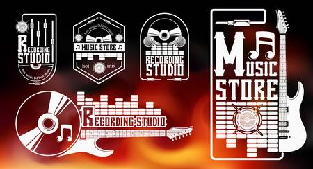 Vector set of logo for the recording studio and music shop. Graphic design concept with a silhouette of a guitar, skull, headphones, equalizer, note. Symbol, emblem, on an element of the music.