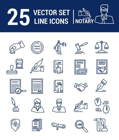 Insieme di vettore delle icone in un design lineare. Notaio e studio notarile. Insieme di elementi di affari legali, certificazione di carte, certificati, contratti, documenti. Modello per sito Web, app, timbro. Vettoriali