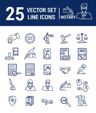 Vector set of icons in a linear design. Notary and notary office. Set of elements of legal Affairs, certification of papers, certificates, contracts, documents. Template for website, app, stamp. Stock Illustratie