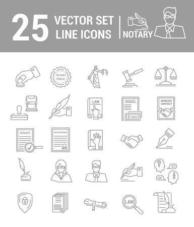 Vector set of icons in a linear design. Notary and notary office. Set of elements of legal Affairs, certification of papers, certificates, contracts, documents. Template for website, app, stamp.