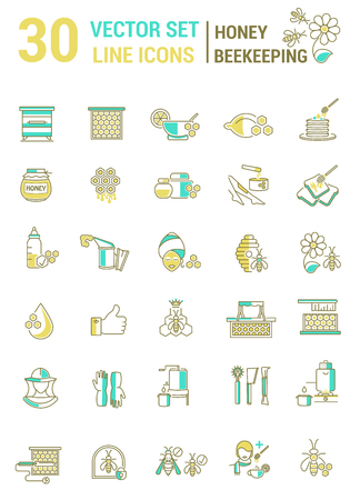 Vector set of icons on a theme of honey and beekeeping Illustration