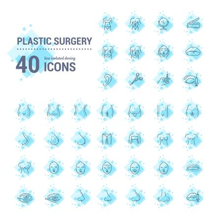 Vector graphic set.Icons in flat, contour,thin, minimal and linear design.Plastic surgery. Set of silhouette.Simple isolated icons.Concept illustration for Web site app.Sign,symbol,element. Illustration