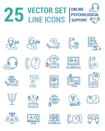 Set vector line icons in flat design with Online psychological support elements
