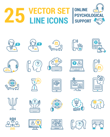 Set vector line icons in flat design with Online psychological support elements Vetores