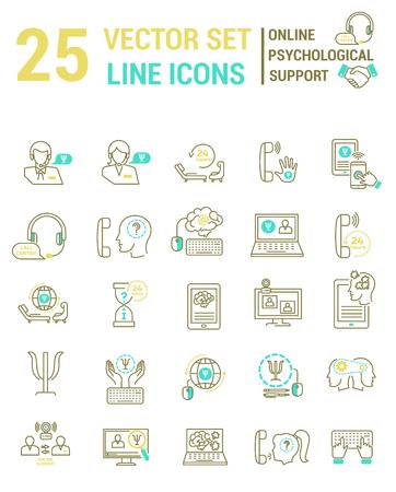 Stellen Sie Vektorliniensymbole in flachem Design mit psychologischen Online-Unterstützungselementen ein