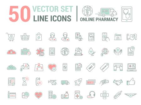 Vector graphic set. Silhouette, logo, icon. Online pharmacy, Internet drug store.Medical equipment in linear, flat, contour, thin design. App, Web site template, infographic. Illustration