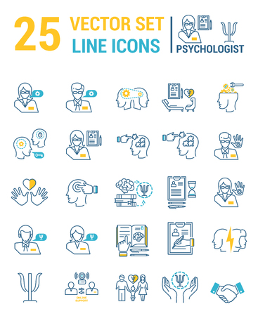 Set vector line icons in flat design with psychological help elements