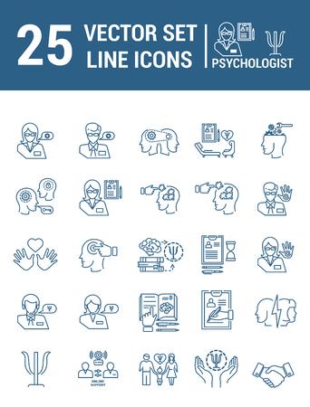 Establecer iconos de líneas vectoriales en diseño plano con elementos de ayuda psicológica Ilustración de vector