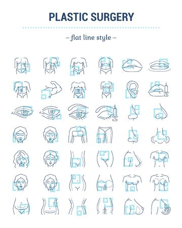 Conjunto de gráficos vectoriales. Tamaño de trazo editable. Iconos en diseño plano, contorno, contorno, fino y lineal. Cirugía plástica, corrección. Iconos aislados simples. Ilustración de concepto. Signo, símbolo, elemento.