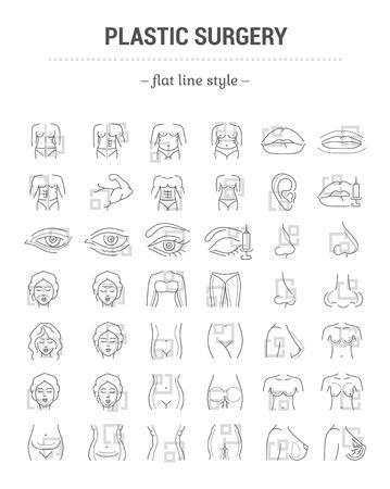 Vektorgrafik-Set. Bearbeitbare Strichgröße. Symbole in Flach-, Kontur-, Umriss-, dünnem und linearem Design. Plastische Chirurgie, Korrektur. Einfache isolierte Symbole. Konzept-Abbildung. Zeichen, Symbol, Element. Vektorgrafik