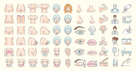 Vector graphic set. Editable outline stroke size. Icons in flat, contour, thin and linear design. Plastic surgery. Simple isolated icons. Concept illustration for Web site. Sign, symbol, element.