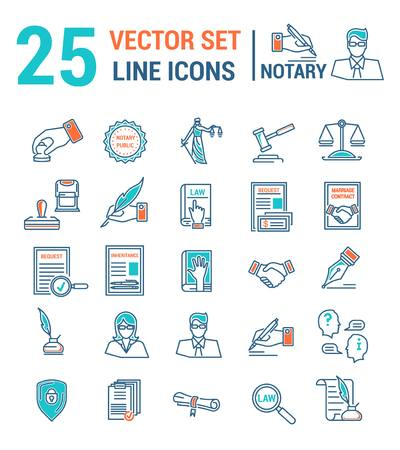 Insieme di vettore delle icone in un design lineare. Notaio e studio notarile. Insieme di elementi di affari legali, certificazione di carte, certificati, contratti, documenti. Modello per sito Web, app, timbro.
