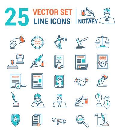 Wektor zestaw ikon w liniowej konstrukcji. Kancelaria notarialna i notarialna. Zestaw elementów spraw prawnych, certyfikacja pism, zaświadczenia, umowy, dokumenty. Szablon strony internetowej, aplikacji, pieczęć.