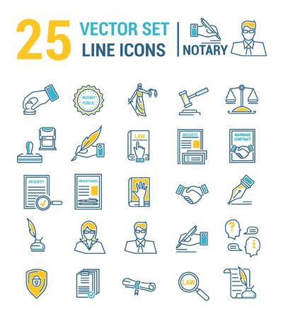 Vector set of icons in a linear design. Notary and notary office. Set of elements of legal Affairs, certification of papers, certificates, contracts, documents. Template for website, app, stamp. Foto de archivo - 115472156