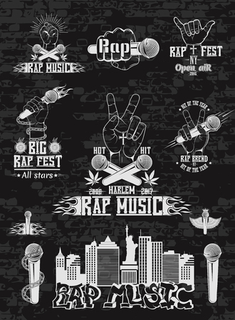 Vector set of logos for rap music style. Logo for t-shirts, music posters, music symbol. 向量圖像