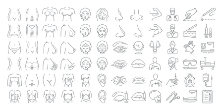 Vector graphic set. Icons in flat, contour, outline, thin and linear design. Plastic surgery, correction, rejuvenation. Simple isolated icons. Concept illustration for Web site. Sign, symbol, element.
