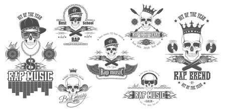 Vector set of logos for rap music style. Logo for t-shirts, music posters, music symbol.  イラスト・ベクター素材