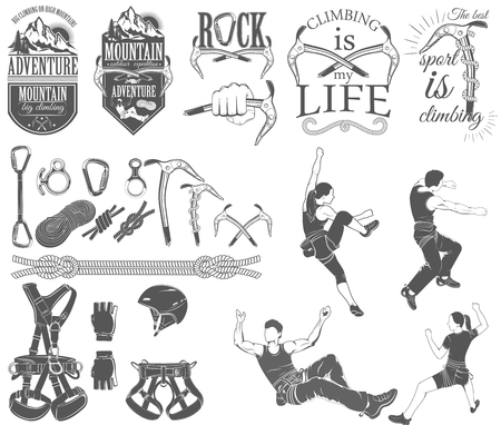 The set of symbols and logos for climbing and mountaineering. Collection of images gear for climbing sport. 写真素材 - 115472468