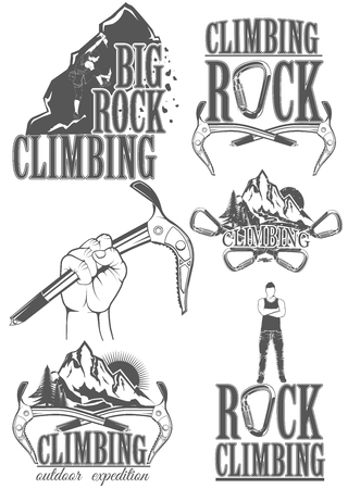 The set of symbols and logos for climbing and mountaineering. Collection of images gear for climbing sport.