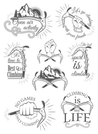 Der Satz von Symbolen und Logos für Klettern und Bergsteigen. Sammlung von Bildern für den Klettersport.