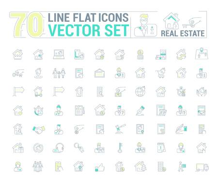 Vector graphic set. Icons in flat, contour, thin and linear design.Real estate.Simple isolated icon on white background.Concept illustration for Web site, app.Sign, symbol, emblem.