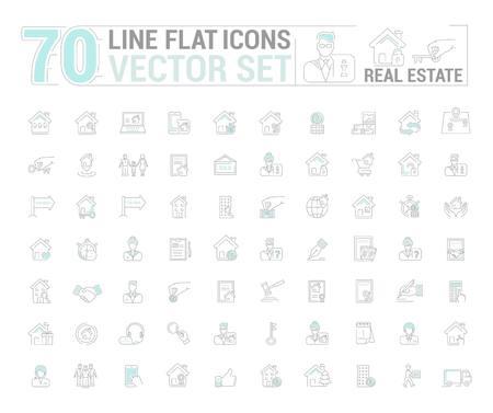Vector afbeeldingenset. Pictogrammen in plat, contour, dun en lineair ontwerp. Onroerend goed. Eenvoudig geïsoleerd pictogram op witte achtergrond. Concept illustratie voor website, app. Teken, symbool, embleem. Vector Illustratie
