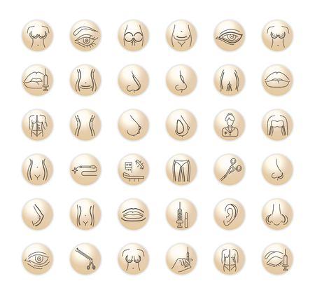 Conjunto de gráficos vectoriales Iconos en diseño plano, contorno, delgado, minimalista y lineal Cirugía plástica. Conjunto, de, silhouette., Simple, aislado, icons., Concepto, ilustración, para, sitio web, app., Señal, símbolo, element.