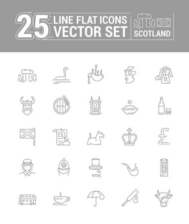 Vector graphics set in lines and flat design. Element, sign, emblem and symbol of Scotland. The concept of linear icons for web site and application.