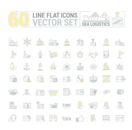 Vector graphic set. Icons in flat, contour, thin and linear design.Sea Logistics.Sending freight by sea route.Simple icon on white background.Concept illustration for Web site, app.Sign,symbol,emblem.