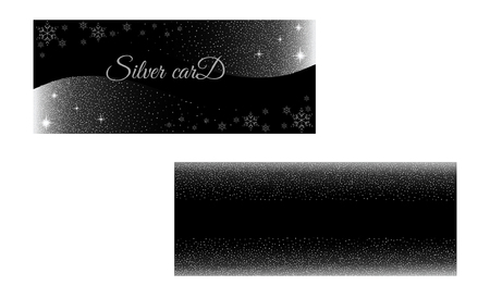 Vector set silver banner on black background. Silver and platinum card for flyers, web, vip, certificate, gift, shopping, and others premium goods.