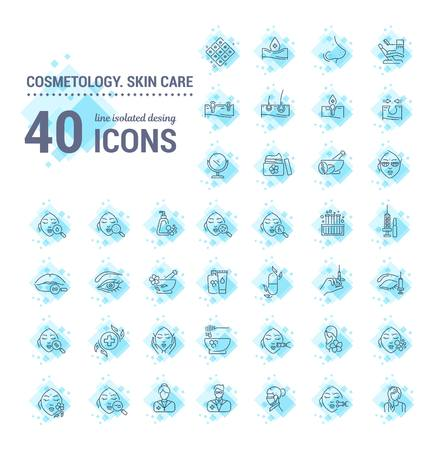 Vector graphic set.Icons in flat, contour,thin and linear design.Cosmetology. Skin care.Simple isolated icons.Concept illustration for Web site app.Sign,symbol,element. Çizim
