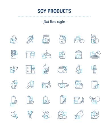 Vector graphic set. Icons in flat, contour, thin, minimal and linear design.Soy products. natural vegetable food..Simple isolated icons.Concept illustration for Web site.Sign, symbol.