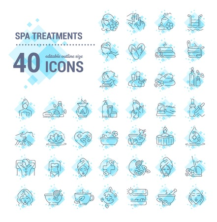 Vector graphic set. Editable stroke size. Icons in flat, contour, outline, thin and linear design. Spa treatments. Simple isolated icons. Concept illustration for Web site. Sign, symbol, element. Illusztráció