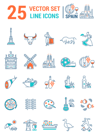 Set vector line icons in flat design with  Spain elements for mobile concepts and web apps. Collection modern infographic  and pictogram. Illustration