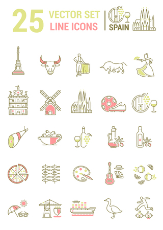Set vector line icons in flat design with  Spain elements for mobile concepts and web apps. Collection modern infographic and pictogram. Vettoriali