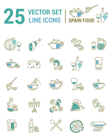 Set vector line icons in flat design with Spanish food elements for mobile concepts and web apps. Collection modern infographic  and pictogram. Stock Illustratie
