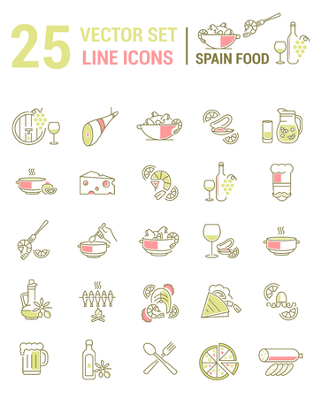 Set vector line icons in flat design with Spanish food elements for mobile concepts and web apps. Collection modern infographic logo and pictogram.