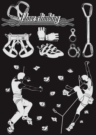 The set of attributes of equipment for climbing, silhouettes the figures of the climbers.Collection of objects for sport competitions of the championship. Set for school and training center.