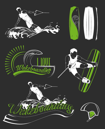 Set of emblems, logos, silhouettes and labels wakeboard and wakeboarding. Collection of equipment for water sport. Elements boards wakeboarding, clothing and transportation. Wakeboarding silhouettes.