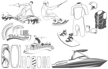 Conjunto de emblemas, logos, siluetas y logotipoa wakeboard para wakeboard. Una colección de equipamiento especial para deportes acuáticos. Un juego de tablas para wakeboard, ropa, transporte,