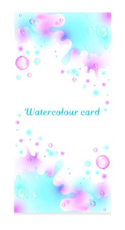 Vector set of watercolor cards with the image of soap bubbles. Graphic set. Template for greeting card and invitation. Flyer, poster, banner.