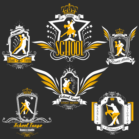 Set logo of dancing couple. Dancers tango illustrations. Dancing people set. The character set for tango. Use for tango studio posters, flayers, web-sites. Tango inscription. Vectores