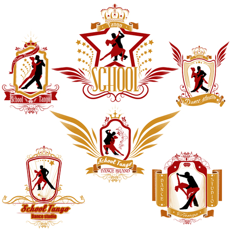 A set of colored dancing couple logo isolate on white background. Dancers illustrations. Dancing people set. Tango. Dancing couple vector illustration. The character set for tango Çizim