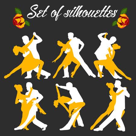 Establecer el logo de la pareja de baile. Ilustraciones de bailarines de tango. Conjunto de personas bailando. El personaje del tango. Úselo para carteles de estudios de tango, desolladores, sitios web. Inscripción de tango. Logos
