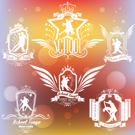 Set white  logo  of the dancing couple isolate on the colored background. Dancers illustrations. Dancing people set. Tango. Dancing couple vector illustration. The character set for tango