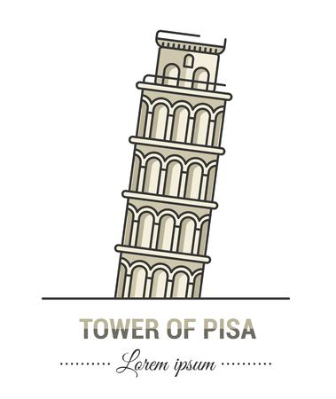 Color illustrations and flat linear design. Templates, logo and mark of tower of Pisa with vintage elements. Easy to use business. Vector abstract logo or emblem. Çizim
